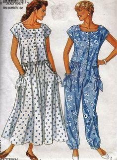 "Women's Baggy Dress or Pantsuit  - Short Sleeve Summer Wear - Size 6-16 Bust 30.5-38"" - UNCUT- Sewing Pattern New Look 6674 by Sutlerssundries on Etsy"