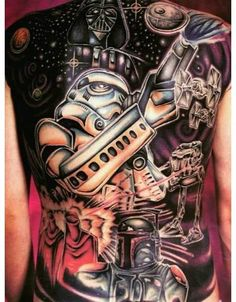 Full Back Star Wars Tattoo... Awesome. Something I can see Timothy getting when he is older