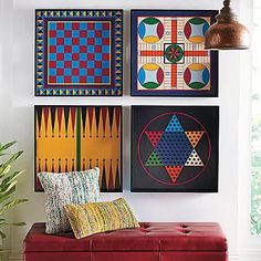 Parcheesi Game Board Tray as Wall Art. This would be great with Monopoly, Chinese Checkers, The Game of Life, etc.