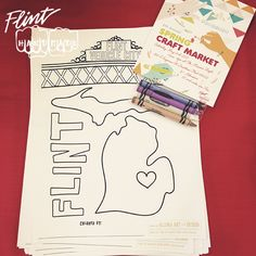 Flint Handmade crayon pack with @alloraartdesign coloring page, promotion the spring 2015 Craft Market.   ••••••••••••••••••••••••••••••••••••••  #craft #craftfair #craftshow #indiecraftshow #arts #michigan #flint #flinthandmade #handmade