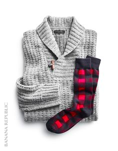 Gift idea he'll love: pair two cozy favorites to make the perfect gift, like this 'vintage grey' popover sweater and a pair of fun buffalo plaid socks. He'll stay warm in this high-quality merino wool shawl collar pullover with a toggle closure, and the Pima cotton-blend socks are the perfect playful-yet-practical finishing touch to this present.
