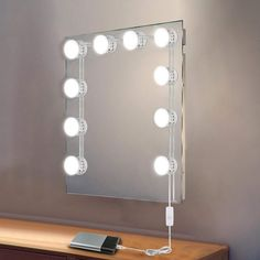 USB Powered Makeup Mirror Vanity LED Light Bulbs Lamp Kit 5 Levels Brightness Adjustable Lighted Make up Mirrors Cosmetic Tool Hollywood Lighted Vanity Mirror, Makeup Vanity Mirror With Lights, Makeup Vanity Lighting, Diy Vanity Mirror, Led Vanity Lights, Makeup Mirror With Lights, Vanity Set, Vanity Light Bulbs, Light Bulb Lamp