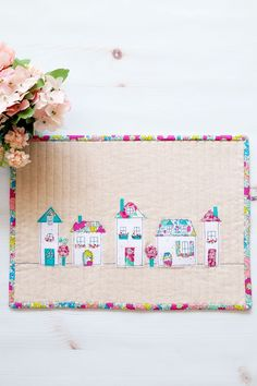 Liberty and Linen Neighborhood Mini Quilt Cute Quilts, Small Quilts, Mini Quilts, Children's Quilts, Quilting Tutorials, Quilting Projects, Quilting Designs, Sewing Projects, Sewing Patterns Free