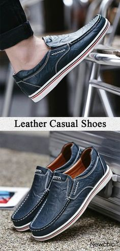 fbc079fe9887 Men Large Size Cow Leather Wear-resistant Slip On Casual Shoes