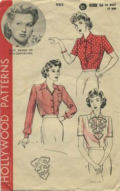 Vintage Sewing Pattern featuring Betty Grable of 20th Century Fox | Hollywood 953 | Year 1942 | Bust 34 | Waist n/a | Hip 37
