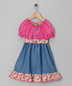 Take a look at this Pink Polka Dot Denim Dress - Toddler & Girls by Lele Vintage on #zulily today!