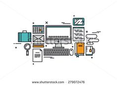 Thin line flat design of website programming process, web coder workplace tools and equipment, software developer desk items. Modern vector illustration concept, isolated on white background.