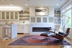 Gorgeous rug, White kitchen, Eames chair oh My Never Out of Style: Oriental Rugs