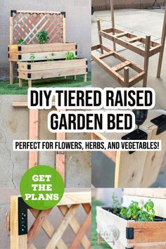 A great small space gardening solution for you if you want a garden but have no where to plant one. This tiered raised garden bed is perfect for patios, decks and small yards! Plant flowers, herbs, or vegetables in this raised garden bed DIY. #AnikasDIYLife #raisedgardenbed #woodworkingplans Kreg Jig Projects, Scrap Wood Projects, Woodworking Projects That Sell, Outdoor Projects, Diy Woodworking, Colorful Furniture, Diy Furniture, Wood Projects For Beginners, Small Yards