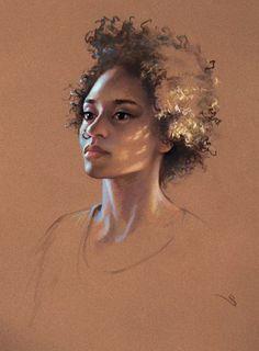 Pastel portrait painting of a beautiful woman. L'art Du Portrait, Portrait Sketches, Pencil Portrait, Pastel Drawing, Painting & Drawing, Illustrations Pastel, Editorial Illustration, Portraits Pastel, Pastel Artwork