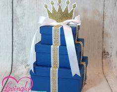 Small Centerpiece | Three Tier Prince Centerpiece | Royal Blue with Gold Rhinestone Ribbon | Additional Colors Available