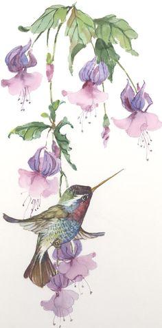 WhiteEared Hummingbird with Fuschia 7 x 13 by CShoresInc on Etsy, $58.00