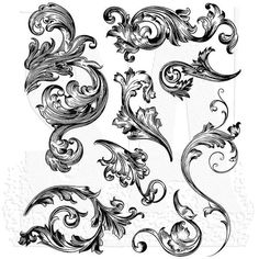 Scrollwork, Tim Holtz Cling Stamps - You are in the right place about Scrollwork, Tim Holtz Cling Stamps Tattoo Design And Style Galleri - Leaf Tattoos, Tribal Tattoos, Sleeve Tattoos, Filagree Tattoo, Scroll Tattoos, Motif Arabesque, Blatt Tattoos, Tattoo Designs, Tattoo Ideas