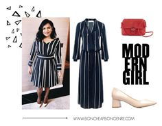 """Mindy Kaling Style - Blue striped dress"" by boncheapbongenre on Polyvore featuring Nika"
