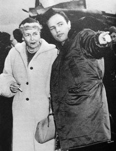 """Marlon Brando with his mother on the set of """"On the Waterfront"""" mmm Marlon"""