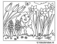 Kleurplaat het is lente, kleuteridee.nl ,spring coloring.