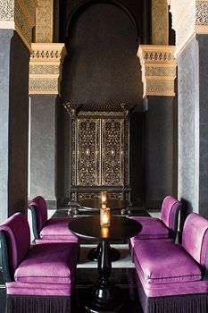 Queen of the Desert: Selman Hotel, Marrakech : A neutral color palette with pops of gem tones and gold make this hotel lobby shimmer with Moroccan style. Moroccan Design, Moroccan Decor, Moroccan Style, Moroccan Bedroom, Moroccan Lanterns, Interior Architecture, Interior And Exterior, Interior Design, Purple Interior