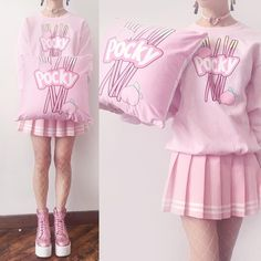 POCKY UNISEX JUMPER or POCKY OUTFIT SET Description8.0 oz., 50/50 cotton/polyester FINAL SALE NO REFUND. ABLE TO EXCHANGE OR STORE CREDIT. JUMPER SIZE: ◕‿-