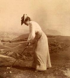 Woman playing golf at Braid Hills, Edinburgh, Scotland in 1902