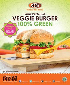 Nah ini kamu harus cobain menu burger terbaru dari A&W Restaurant, nikmati kelezatan Veggie burger sekarang dengan promo diskon 50% untuk pembelian menu kedua.