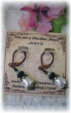 New Retro Vintage Antique w/Swarovski Ab Finish Crystal/Pearl Dangle Earrings