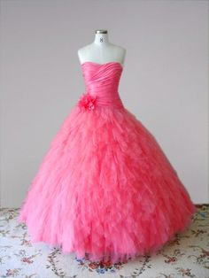 QuinceaneraGalleria.com: Pink Tulle Quinceanera Dress with Floral Detail, $445