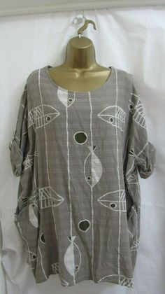 aacd633835904 ...  shoes  accessories  womensclothing  tops (ebay link). See more.  Lagenlook Women Top Mocca Fish Cotton Tunic Plus One Size 16 18 20 22   fashion