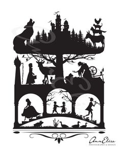 Brothers Grimm Fairy Tales Silhouette Collage by AnnElisaPhotoDesign. Maybe stencil these? Brothers Grimm Fairy Tales, Grimm Tales, Gebroeders Grimm, Paper Cutting, Cut Paper, Illustrations, Children's Book Illustration, Papercut Art, Fairy Tale Tattoo