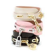 Juicy Couture Padlock Leather Cuff Bracelet
