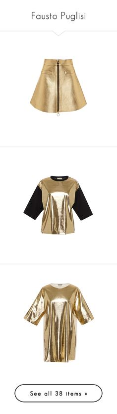 """""""Fausto Puglisi"""" by mpxxi ❤ liked on Polyvore featuring skirts, mini skirts, gold, brown ruffle skirt, ruffle skirt, frilly skirt, zipper skirt, gold leather skirt, tops and t-shirts"""