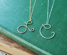 Say My Name Initial Cursive Letter- Delicate, modern necklace gold or silver