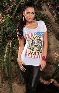 biały T-Shirt Love/Hate Graphic Tank, Hate, Peplum, Tank Tops, Heels, T Shirt, Women, Fashion, Moda