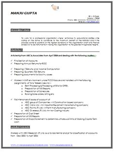 Resume Sample Of An Experience Chartered Accountant With Great Career  Objective,Job Profile And Awesome  Career Objective In Resume