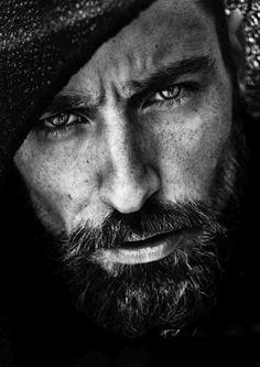 Black and white intense gaze contrast details photography portrait man male