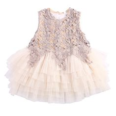 Girls Baby Princess Flower Wedding Party Christening Beading Tutu Dress 120CM ** To view further for this item, visit the image link. (This is an affiliate link)