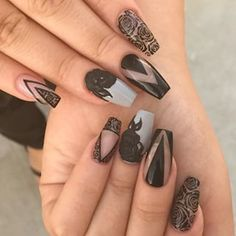 Index finger design Crazy Nails, Dope Nails, Fancy Nails, Fabulous Nails, Gorgeous Nails, Pretty Nails, Black Nail Designs, Cute Nail Designs, Hair And Nails