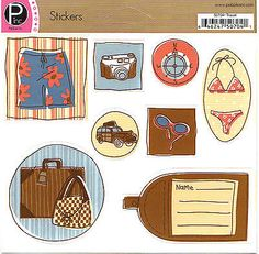 Pebbles TRAVEL Cardstock Sticker Sheet scrapbooking 99 CENT SALE!