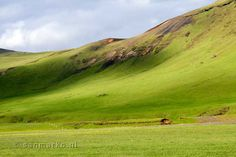 Beautiful green hills in Iceland