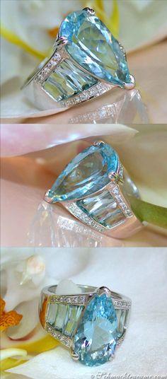 Huge Aquamarine Diamond Ring, 8,22 ct. WG14K - Visit: schmucktraeume.com - Like: https://www.facebook.com/pages/Noble-Juwelen/150871984924926 - Mail: info@schmucktraeume.com
