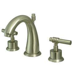 """Kingston Brass Milano Two Handle 8"""""""""""""""" to 16"""""""""""""""" Widespread Lavatory Faucet with Brass Pop-up - Satin Nickel"""