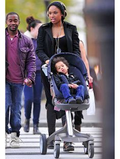 It might look kind of funny, but Jennifer Hudson's sweet son David appears to be enjoying his perch as he rides high in a Stokke Xplory stroller, which features a reversible, height adjustable ergonomic seat. $929.95