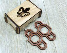 Laser cut wood earrings 3 от CNCAUTOMATIC на Etsy