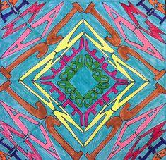 artisan des arts: Name kaleidoscope art - Grade File with Steps High School Art Projects, Classroom Art Projects, Art Classroom, Lego Projects, School Ideas, Kaleidoscope Art, Symmetry Art, 7th Grade Art, Math Art