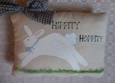 Primitive Hand Painted Easter Bunny Folk Art by auntiemeowsprims