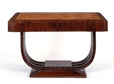 Art Deco furniture, console table made of exotic carved wood