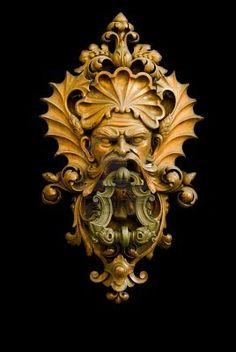Green Man, medieval door knocker, Florence Italy