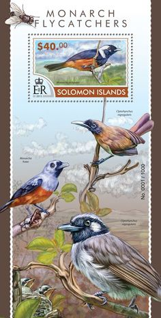 Post stamp Solomon Islands SLM 15308 b	Monarch flycatchers (Monarcha richardsii)