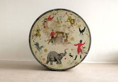 vintage circus illustrated biscuit tin on Etsy, $35.00
