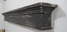 This floating wall shelf would fit great in any room of your home. Stained in a Classic Black and distressed for that antique feel. Fireplace Mantle Shelf, Farmhouse Fireplace, Fireplace Remodel, Fireplace Design, Floating Wall Shelves, Shelf Wall, Farmhouse Landscaping, Diy Home Decor, Shabby