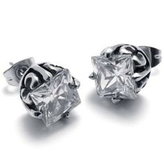 KONOV Jewelry Vintage Stainless Steel Rectangular Cubic Zirconia Mens Stud Earrings Set, 2pcs, Color Silver KONOV Jewelry. $7.99. Brand: KONOV Jewelry. Earrings Height: 9mm Width: 9mm. Material: Stainless Steel; Color: Silver. Unit: 1 Pair (2pcs)